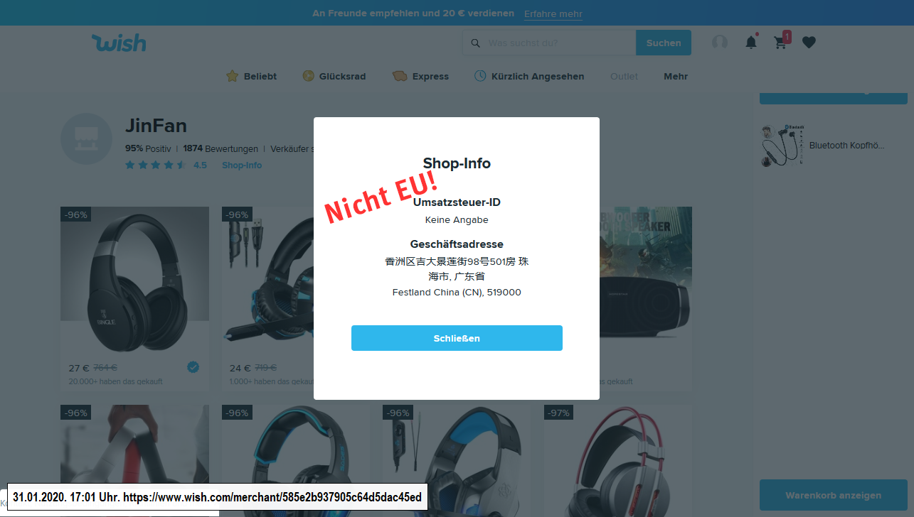 Screenshot Shop-Info auf der Bestellplattform Wish (31.1.2020)